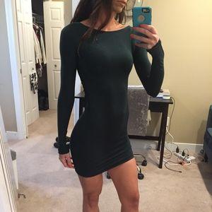 Indah Green Tight Dress with Crochet Back